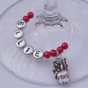 Fries Personalised Wine Glass Charm